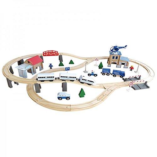 Holzeisenbahn Schienen Set mit elektrischer Lokomotive - 80 Teile, Holz Zug, Auto, Haus FSC®