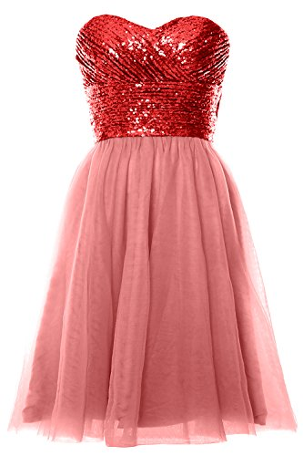 MACloth Women Strapless Cocktail Dress Sequin Short Wedding Party Formal Gown Red-Blush Pink