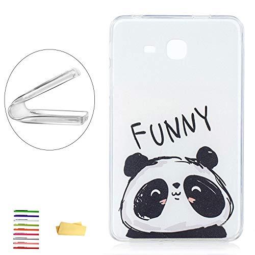 UUcovers, Schutzhülle für Samsung Galaxy Tab A 7.0 Tablet (SM-T280 / T285), dünn, leicht, flexibel, weiches TPU, kristallklar, stoßfest, mit transparentem Bumper-Muster Schwarz 01# Cute Panda