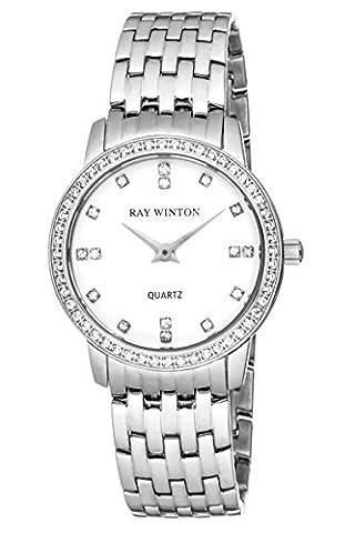 Ray Winton Women's WI0093 Analog White Dial Silver Crystal-Set Bezel
