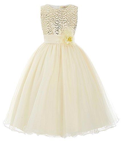 GRACE KARIN Maedchen Prinzessin Hochzeit Party Festzug Kleid Champagner ,7 jahre,  Champagner