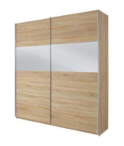 Rauch Schwebetürenschrank mit Spiegel, Eiche Sonoma Nachbildung, 2-türig, BxHxT 136x210x62 cm