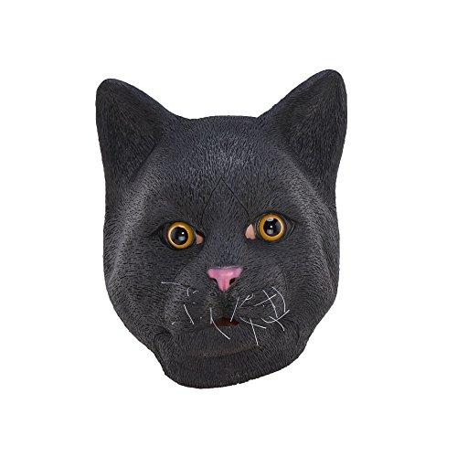 Zorux – Halloween-Maske aus Latex, Schwarze Katze, für Partys, Kostüme, ()