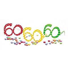 Idea Regalo - Givi Italia- Conf. 6 Occhiali Carta Numero 60 Anni Colorati Pois-Accessori Compleanno Adulto, Assortiti, 50119