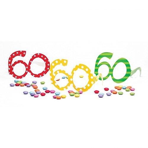 Paquete de 6gafas de papel número 60años de colores con lunares-Accesorios cumpleaños adulto