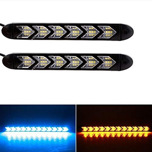LanLan Phares Moto 6LEDs Voiture DRL Clignotants étanches lumières Styling Chevalier Rider Bande lumière flèche Flasher Clignotant DRL Blue+Yellow Light