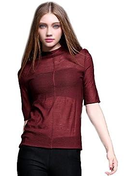 Camisa XGMSD Mujer Perspectiva Suéteres Otoño Invierno Atractiva Que Basa (Dar Un Sujetador Negro)