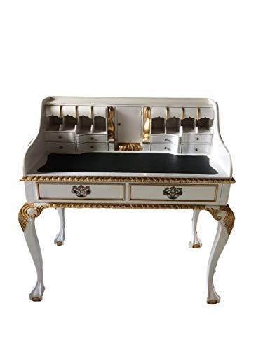 Antiker Barock Louis Seize Renaissance Rokoko Sekretär Farbe:weiß/Gold Schreibtisch Schminktisch...