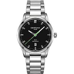 Certina Men's DS-2 Precidrive 40mm Steel Bracelet & Case Quartz Black Dial Analog Watch C024.410.11.051.20
