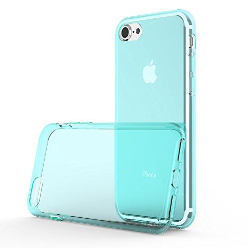 Cadorabo - Ultra Slim TPU Etui pour Apple iPhone 7 Housse Gel (silicone) en Design 'AIR' - Coque Case Cover Bumper en ROSA-TRANSPARENT BLEU-TRANSPARENT