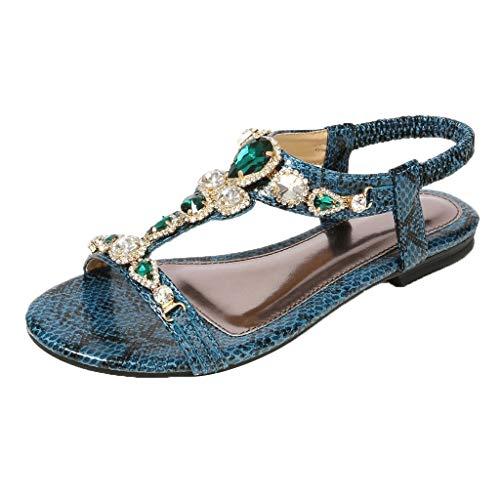 CUTUDE Damen Ethnische Sandalen Römische Schuhe Strass Perlen Schlange Flache Sandalen Schuhe Größe 34-45 (Grün, 42 EU) -