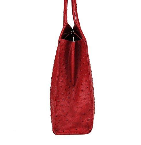 Made in Italy echt Leder DIN-A4 Strauß Prägung Business Aktentasche Tasche Schultertasche Handtasche Henkeltasche 40x30x10 (BxHxT) (Schwarz) Dunkelrot