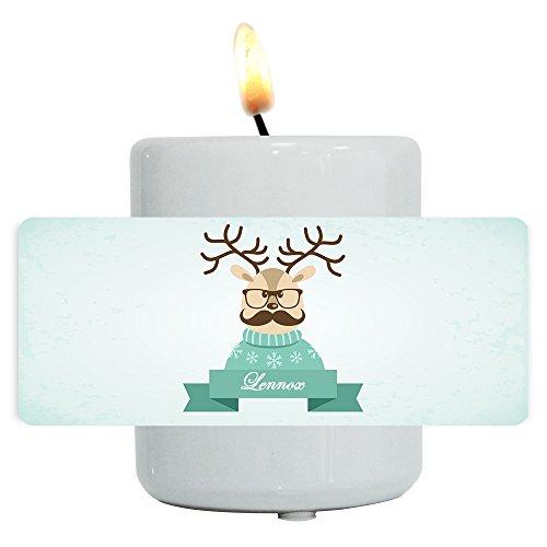 Teelichthalter mit Namen Lennox und lustigem Motiv mit Rentier in Pullover, Brille und Schnurrbart