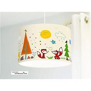 Lampe für Kinderzimmer mit Waldtieren in Beige aus Baumwollstoff - alle Farben möglich