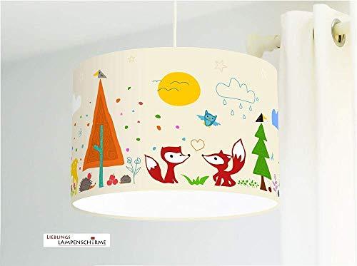 Lampe für Kinderzimmer mit Waldtieren in Beige aus Baumwollstoff - alle Farben möglich -
