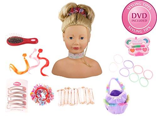 Götz 1192052 Haarwerk mit blonden Haaren und blauen Augen - 58-teiliges Frisierkopf- und Schminkkopf-Set - geeignet ab 3 Jahren