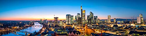 Küchenrückwand Echtglas, 500x2000mm, LED beleuchtet, Glasbild, Frankfurt Dämmerung Stadt Skyline