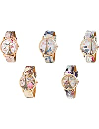 Peter India,PARIS Effil Tower Dial Rose Gold Dial And Multicolour Leather Strap Combo Pack Of - 5 For Woman&Girls