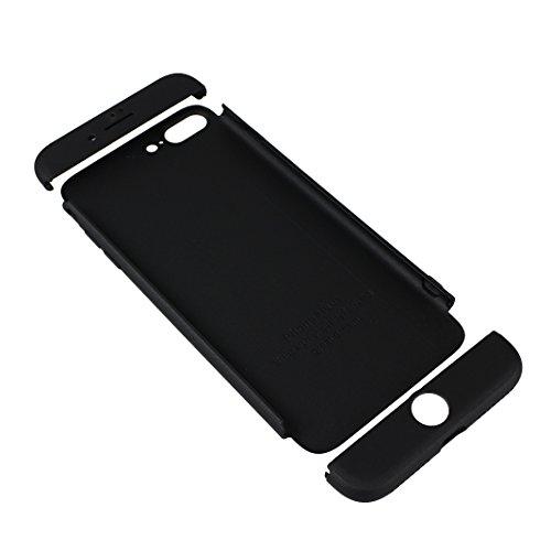 iPhone 7 Plus Hartschale, iPhone 7 Plus 3 in 1 Hülle, iPhone 7 Plus Full Body Case, Moon mood® 3 in 1 Anti-Fingerprint Kratzfeste Kunststoff Harte Rückseite Case Bumper Schutzhülle für Apple iPhone 7  T Schwarz