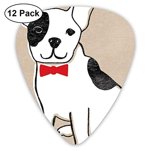 Pug Wearing A Bow Tie Classic Colorful Guitar Picks Plectrums for Electric Guitar, Acoustic Guitar, Mandolin, and Bass - 12 Pack