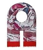 Majea Schal Damen Tuch Kopftuch Halstuch Schals und Tücher mit Muster Stola (rot 11)