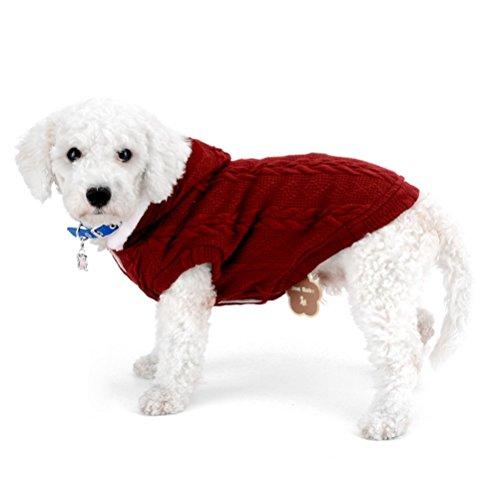 zunea Pullover Mantel für kleine Hunde Classic Fleece gefüttert mit Kapuze Kabel Strick Weich Warm Weihnachten Teetasse Yorkie Chihuahua Kleidung Outfits Apparel (Gefütterte Klassische Mantel)