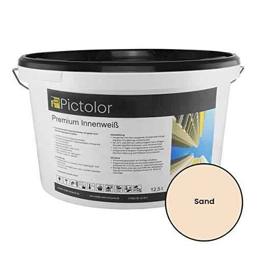 Pictolor Premium Innenweiß Innenfarbe - Wohnraumfarbe - Wandfarbe (12,5 Liter, Sand)