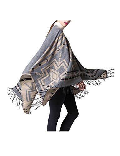 Letuwj Femme Poncho Tricot écharpe hiver Gris
