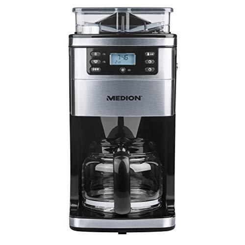 MEDION MD 15486 Filter-Kaffeemaschine mit Mahlwerk, 1,5 Liter Glaskanne, max. 1050 Watt, 8 Mahlstufen, 24-Stunden-Timer, LCD-Display, edelstahl