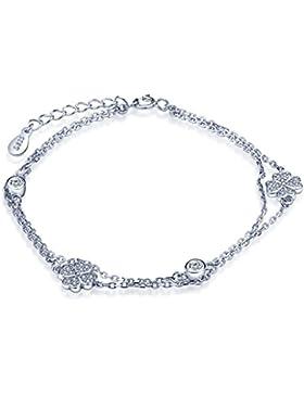 Unendlich U Vierblättriges Kleeblatt Damen Charm-Armband 925 Sterling Silber Zirkonia Armkette Strangarmband Verstellbar...