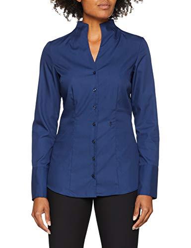 Seidensticker Damen Bluse - Bügelfreie, schmal taillierte Hemdbluse mit Kelchkragen und Kragen-Ausschnitt - Langarm - 100% Baumwolle, Blau (Dunkelblau 18), 44