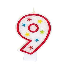Parte única vela del cumpleaños número 9 con la decoración de la torta brillante
