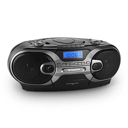 auna RCD 230 Ghettoblaster tragbares CD-Radio (USB-Port, SD-Slot, MP3-fähig, Kassette, UKW/MW-Tuner) schwarz