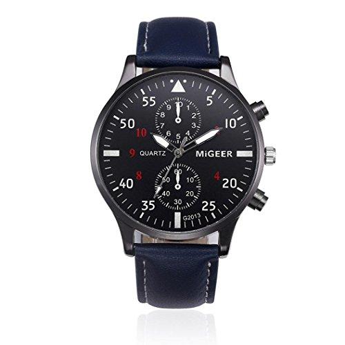 Preisvergleich Produktbild Uhren DAY.LIN Retro Design Lederband analoge Legierung Quarz-Armbanduhr (Blau)