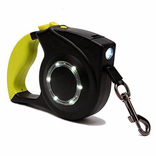Automatisch Retractable Hundeleine Seil Nylon Einfache Ein-Knopf-Bremse Und Schloss LED-Licht 4M Bis Zu 80 £ Für Große, Mittlere Und Kleine Hunde,Yellow (Führen Lange Flexi)