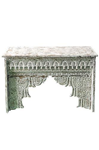 Orientalische Konsole Sideboard schmal Inana 120cm Weiß | Orient Vintage Konsolentisch orientalisch handgeschnitzt | Landhaus Anrichte aus Holz massiv | Asiatische Deko Möbel aus Indien