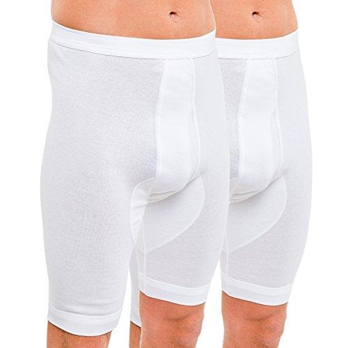 HERMKO 3980 2er Pack Herren Longpant mit Eingriff, hoher Leib, Farbe:weiß, Größe:D 7 = EU XL