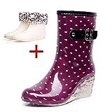 Cotouke Damen Gummistiefel Regen Schuhe Stiefel Wasserdichte Gummistiefeletten Keilabsatz Gummistiefeln Rain Boots Size
