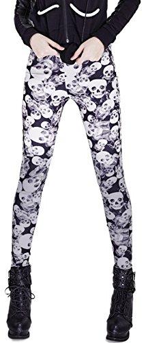 Punk Rave Skull Printed Leggings Camouflage K TS-259 Grau M