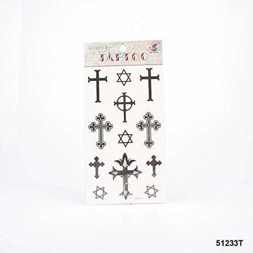 Tatuaggi stelle e diverse croci in nero