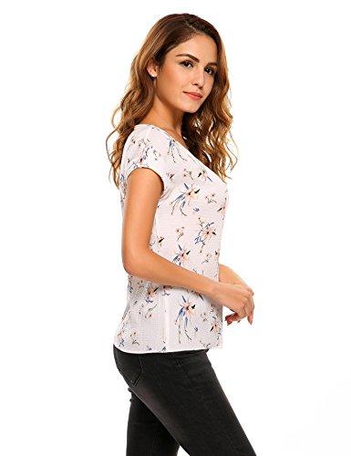 Zeagoo Damen Sommer Casual Loose Fit Kurzarm Blumen Muster Rundhals Ausschnitt T Shirt Chiffon Top Bluse Blau/Weiß Print