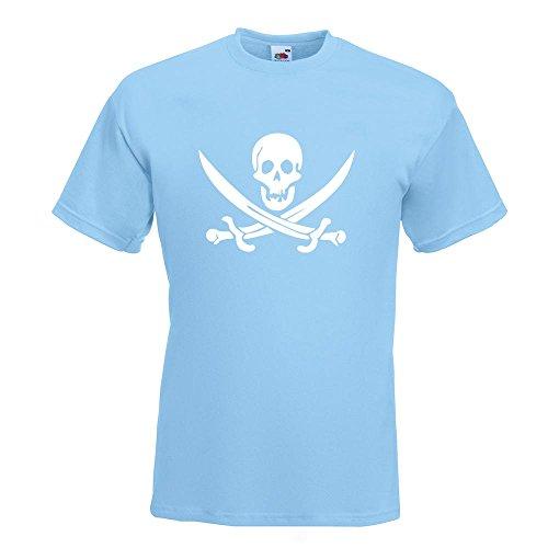 KIWISTAR - Piraten Schädel T-Shirt in 15 verschiedenen Farben - Herren Funshirt bedruckt Design Sprüche Spruch Motive Oberteil Baumwolle Print Größe S M L XL XXL Himmelblau