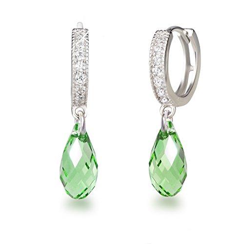 Schöner-SD, Creolen mit 13mm Swarovski Kristall Briolette Ohrringe 925 Silber Rhodium hell grün
