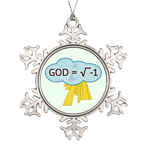 Monsety God Rechteckige Wurzel von 1 Pin Back Customized Christmas Anti Religion 2018 Christmas Snowflake Ornament Funny Holiday Xmas Tree Decoration Gift