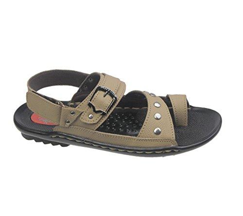 Herren Flache Sandalen Casual Flip Flop Jungen Klettverschluss Beach Schnalle Walking Fashion Leder Slipper Größe Beige