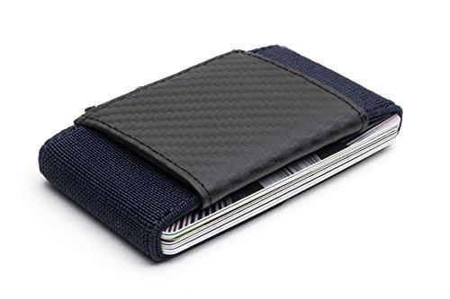 Portafoglio porta tessere pocketo carbon fiber/elastic, in fibra di carbonio, elastico, resistente, duraturo, comodo, sicuro, leggero, minimalista e adatto a tutti (blu marino)