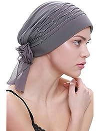Deresina Headwear Cappello Intrecciato di Plisse con Le Perle per la Perdita  dei Capelli 5b46b749890f