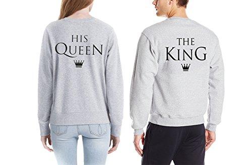 Pullover Paar-Sweatshirt für Liebespaar Partnerlook Casual Tops Crew Neck Langarm Geschenk-Idee (Grau-KING (1 Stück), XXXL) (Passenden Family-shirts Für Disney)