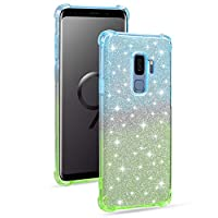 ‏‪Mylne Soft Glitter Case for Samsung Galaxy S9 Plus,Slim Shockproof 2 in 1 Flexible Silicone Bumper Protective Phone Sparkly Case Cover Girls Women,Blue Green‬‏