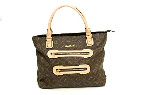borse delle signore delle donne italiane Giulia Pieralli di cuoio di lusso della cinghia di spalla della borsa Brown con Crema